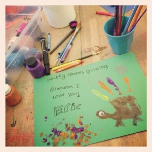 The kiddos had such fun making these Thanksgiving cards for Gramma!